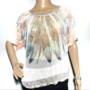 Cleo NWT Feather Graphic Blouson Top Large